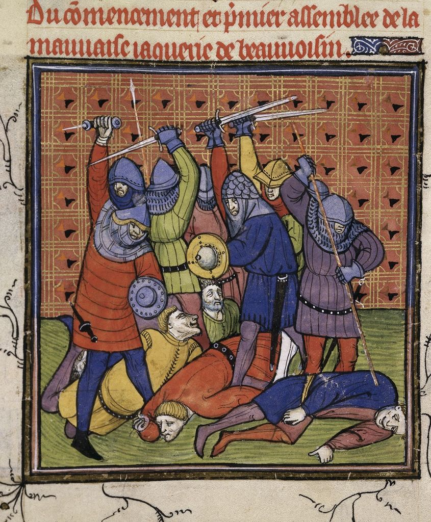 Outbreak of Jacquerie from BL Royal 20 C VII, f. 133