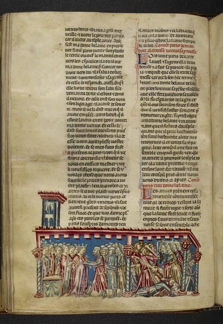 Paris and Helen from BL Royal 20 D I, f. 49v
