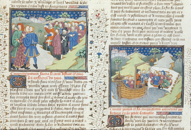 Patrices embracing the count of Asturias from BL Royal 15 E VI, f. 208