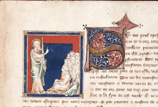 Paul preaching from BL Royal 19 B XV, f. 1