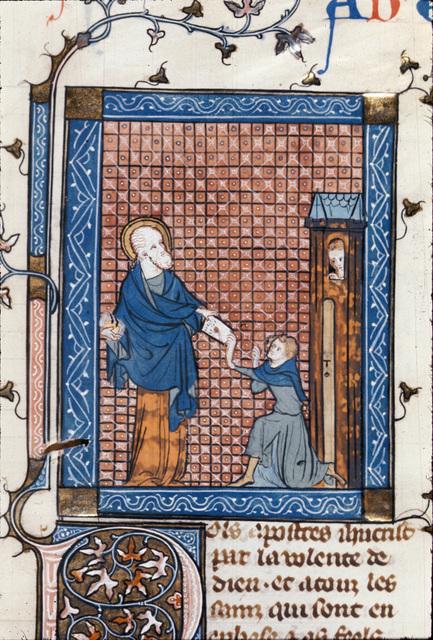 Paul sending a letter from BL Royal 18 D VIII, f. 118
