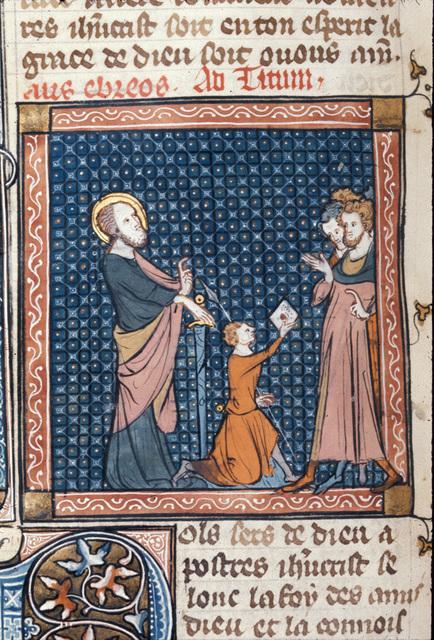 Paul sending a letter from BL Royal 18 D VIII, f. 129v