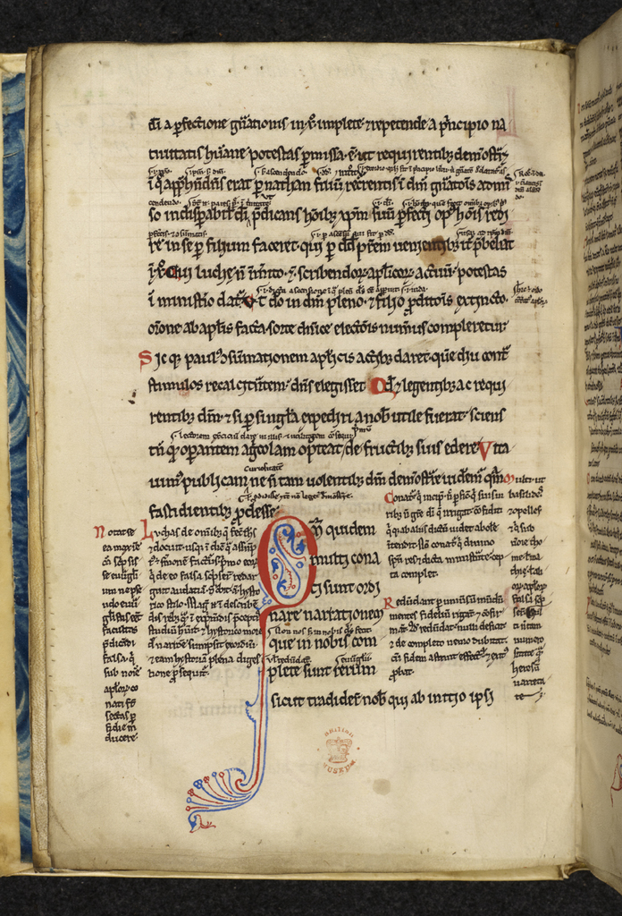 Pen-flourished initial from BL Royal 4 A VII, f. 1v