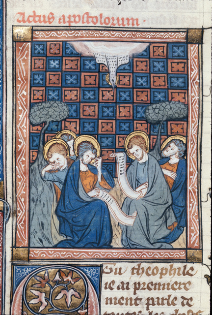 Pentecost from BL Royal 18 D VIII, f. 136v