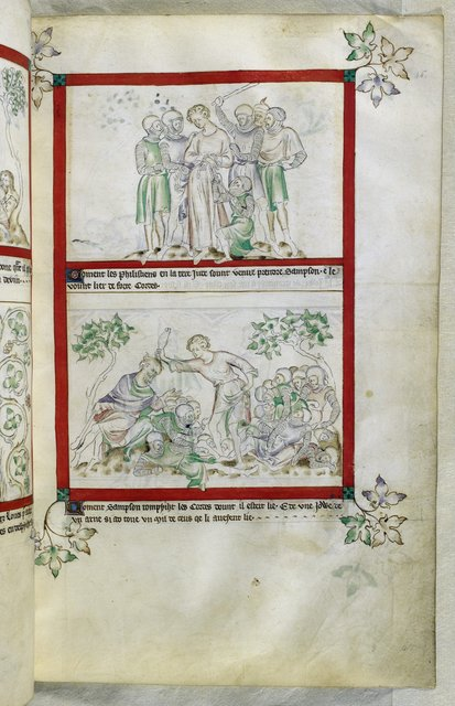 Philistines capturing Samson from BL Royal 2 B VII, f. 45