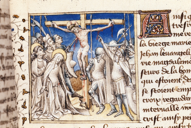 Piercing of Christ's side from BL Royal 20 B IV, f. 128