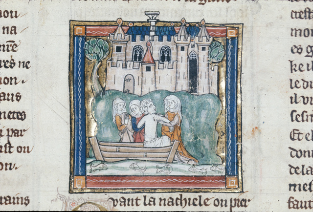 Pieron arriving at an island from BL Royal 14 E III, f. 82