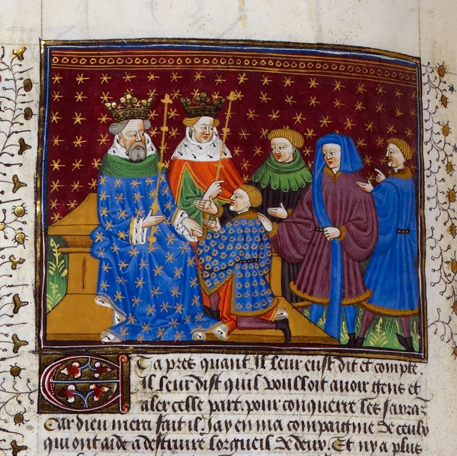 Ponthus petitioning the kings of England and Scotland from BL Royal 15 E VI, f. 219v