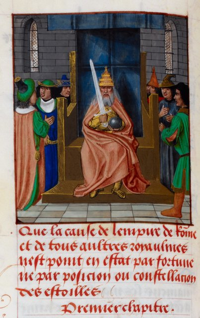 Pope as emperor from BL Royal 17 F III, f. 58v