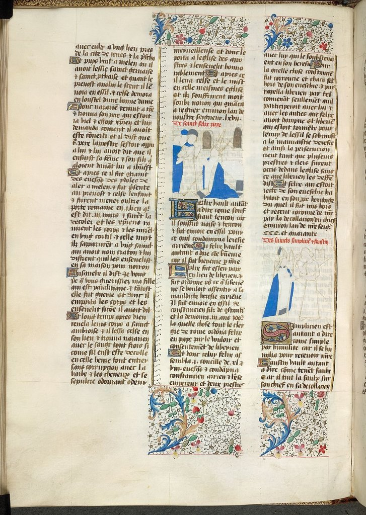Pope Felix, Simplicius and Faustina from BL YT 49, vol. 2, f. 27v