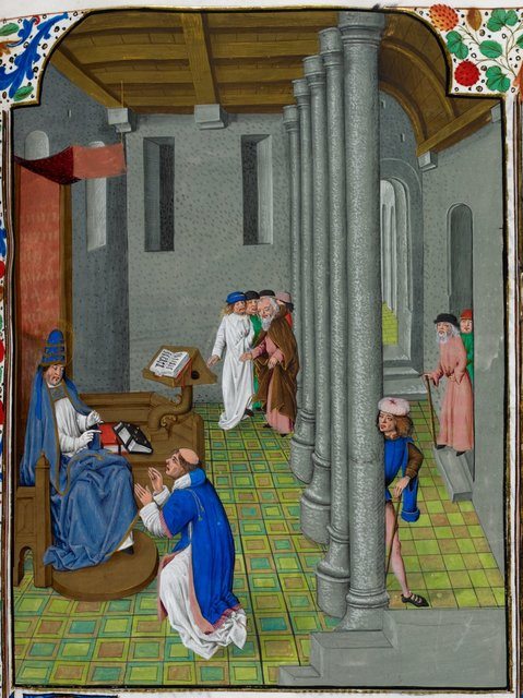 Pope Gregory and Peter the Deacon from BL Royal 15 D V, f. 218