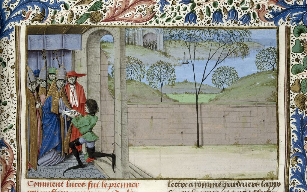 Pope receiving Lucius' envoy from BL Royal 15 E IV, f. 69