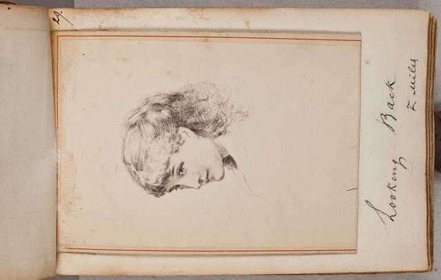 Portret: meisje dat achterom kijkt / door F[rank] Miles (1852-1891)
