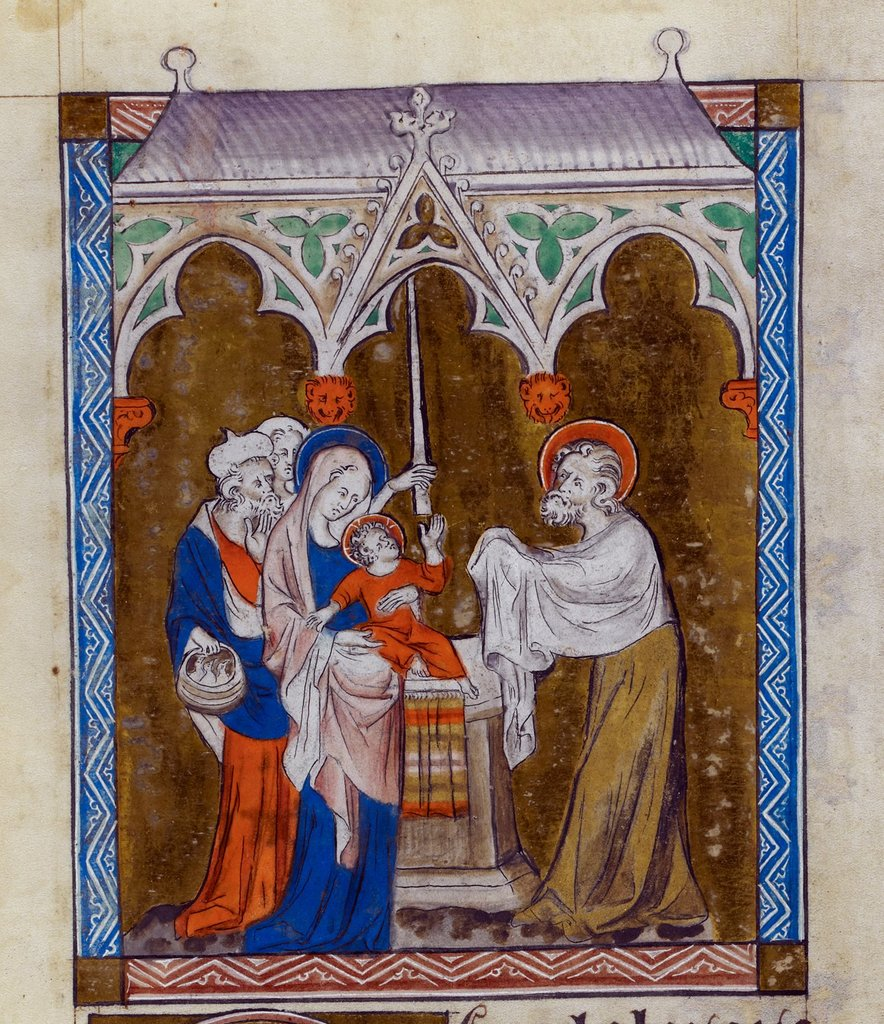Presentation in the Temple from BL Royal 2 B VII, f. 149