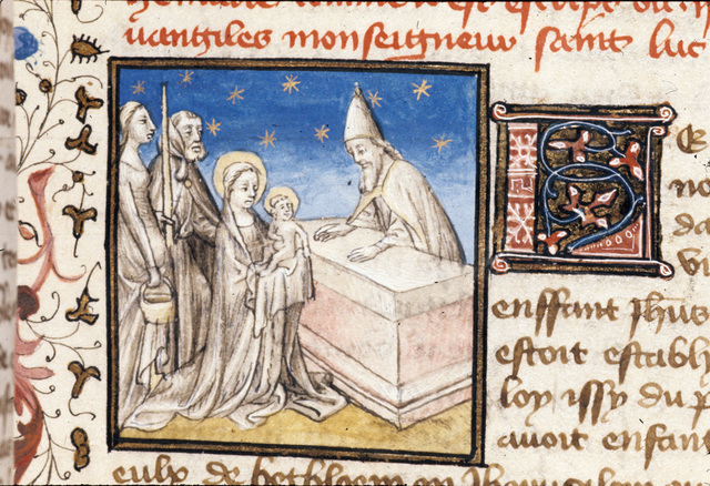 Presentation in the Temple from BL Royal 20 B IV, f. 27