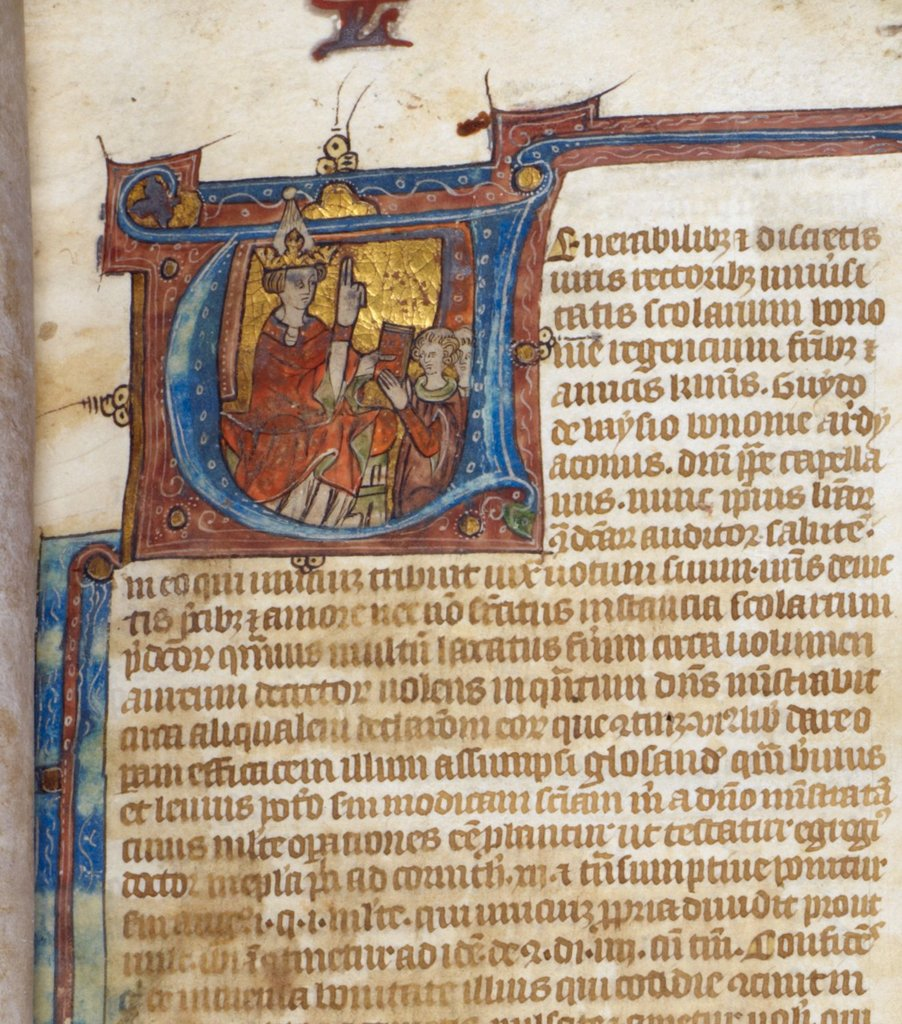 Presentation of the book from BL Royal 11 D V, f. 1