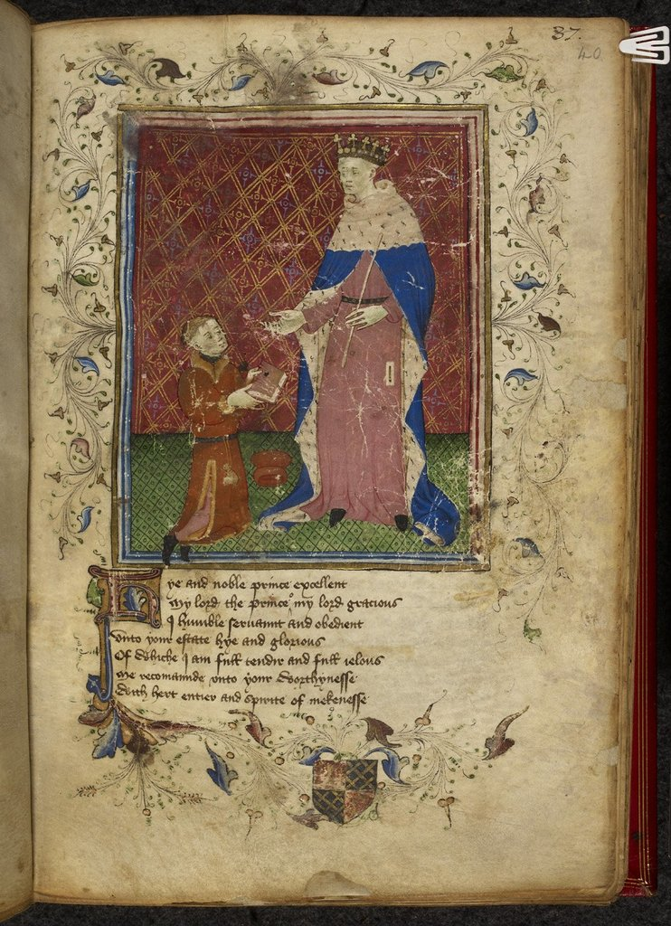 Presentation of the book from BL Royal 17 D VI, f. 40