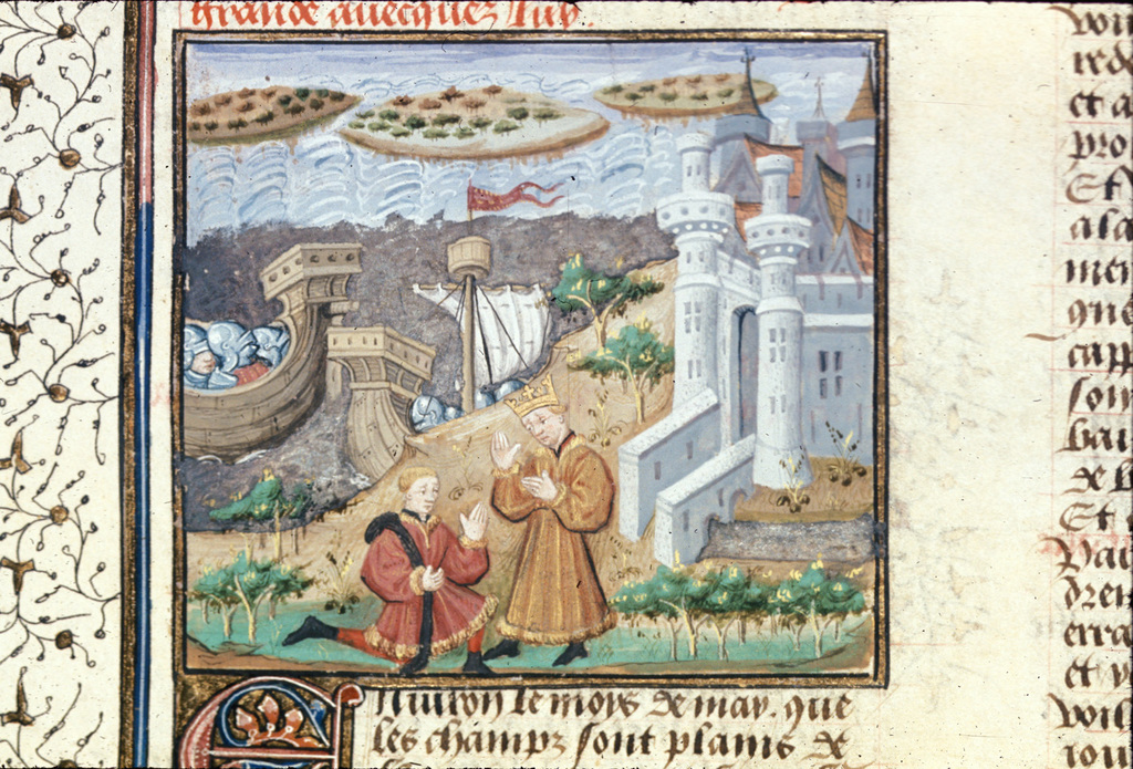 Priam sending Paris from BL Royal 16 F IX, f. 17v