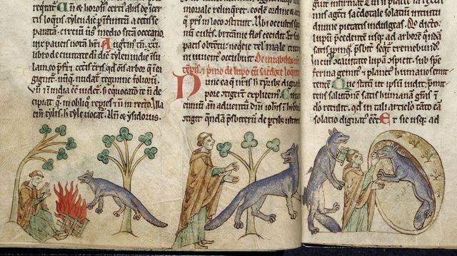 Priest and wolf from BL Royal 13 B VIII, ff. 17v-18