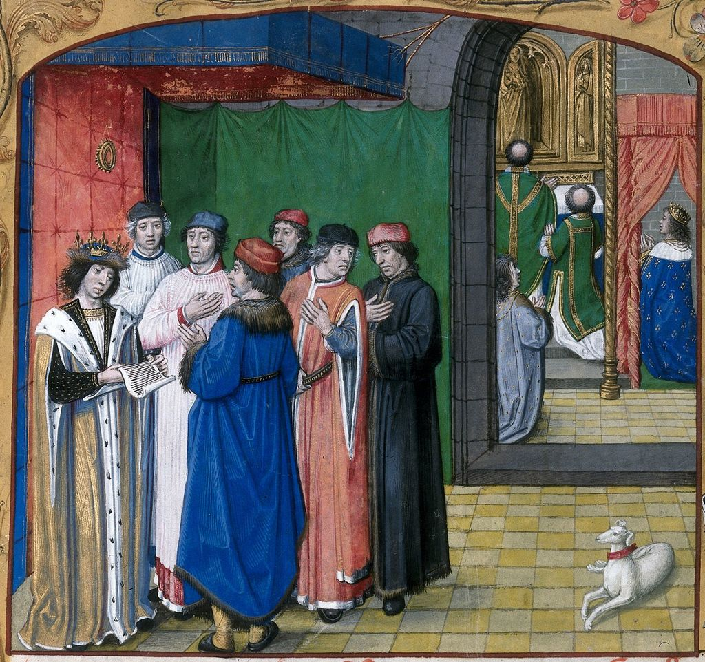 Prince and his council from BL Royal 16 F II, f. 210v