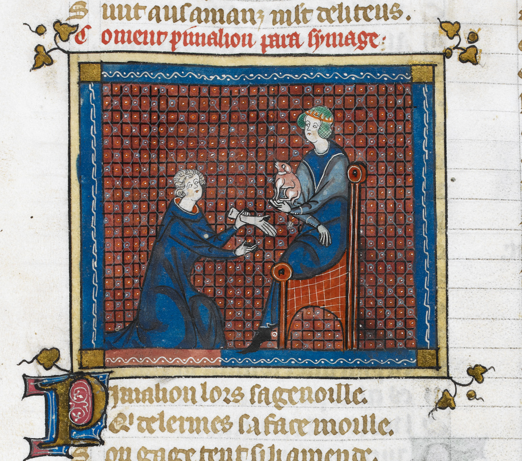 Pygmalion kneeling before the statue from BL Royal 19 B XIII, f. 138v