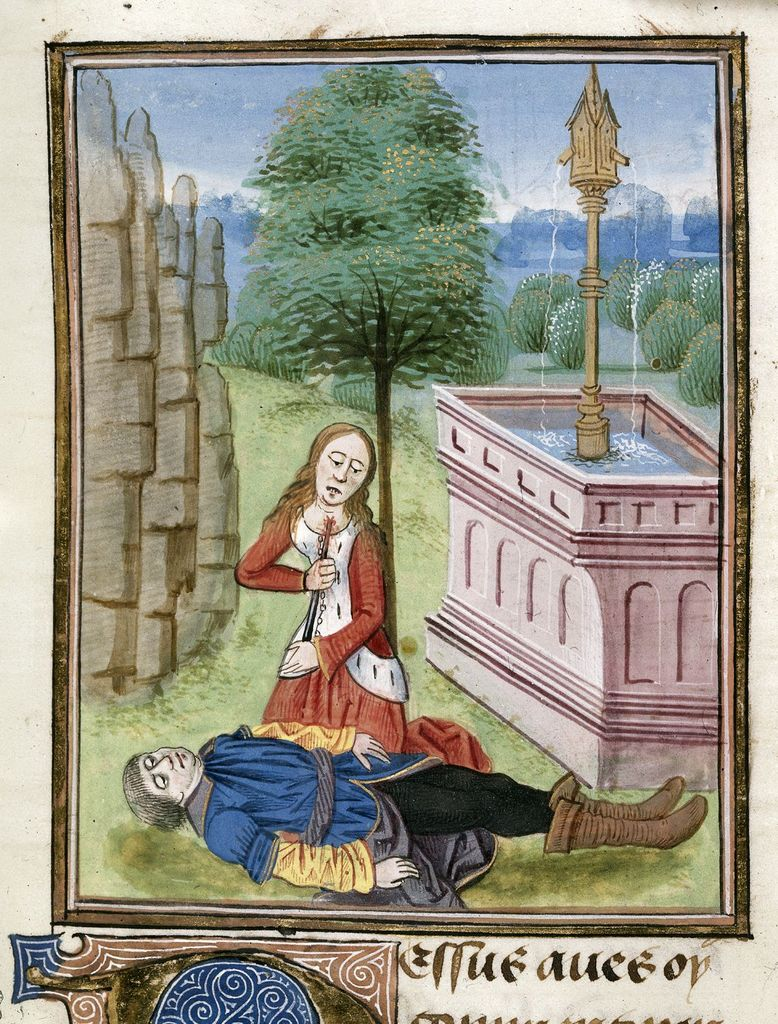 Pyramus and Thisbe from BL Royal 17 E IV, f. 55