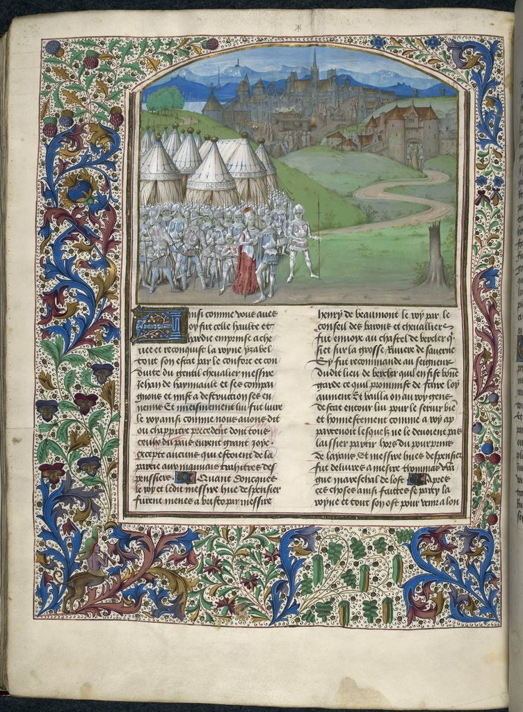 Queen Isabella and her army from BL Royal 15 E IV, f. 316v
