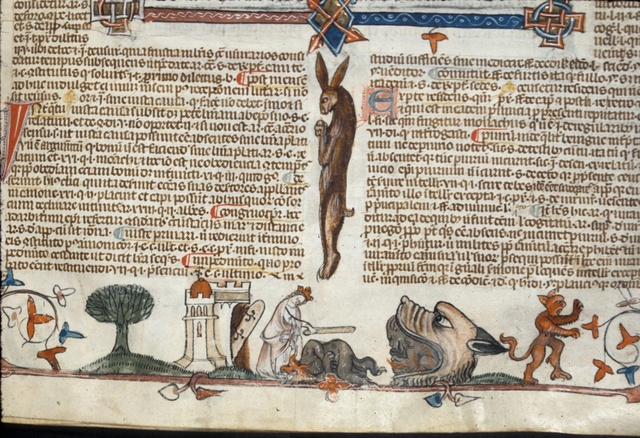 Queen subjugating the devil from BL Royal 10 E IV, f. 171