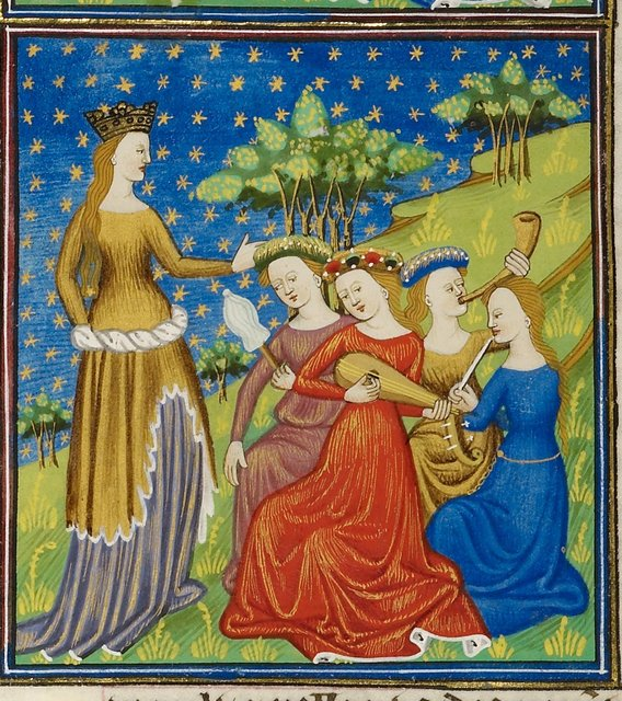 Queen with four women from BL Royal 16 G V, f. 3v