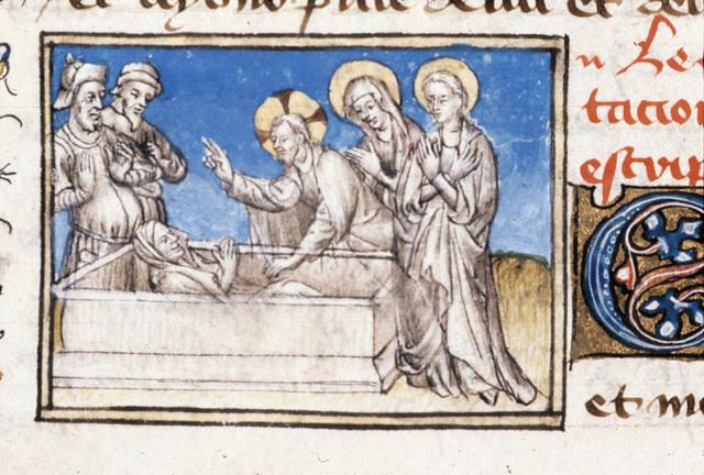 Raising of Lazarus from BL Royal 20 B IV, f. 96v