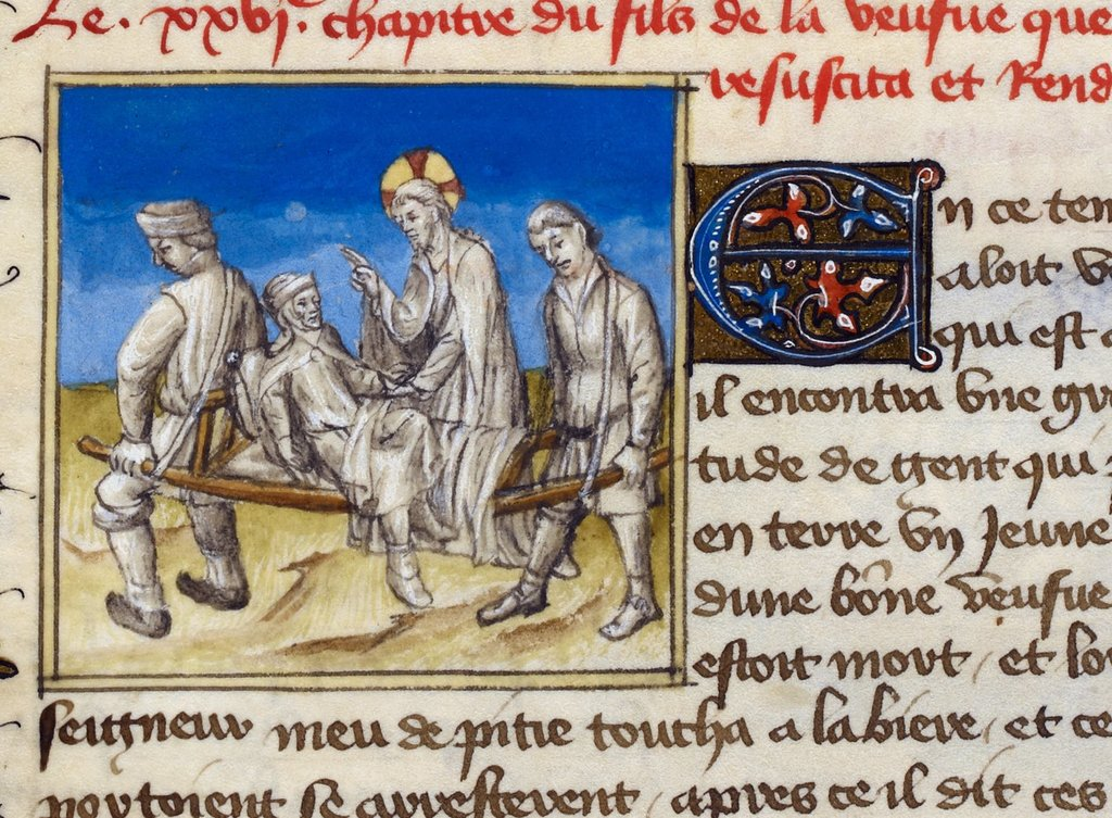 Raising of the widow's son from BL Royal 20 B IV, f. 61v