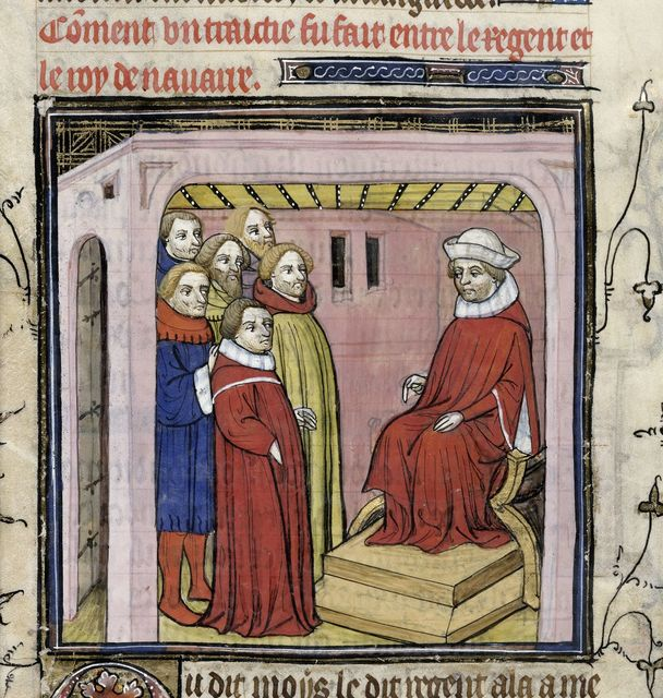 Regent holding a council from BL Royal 20 C VII, f. 144v