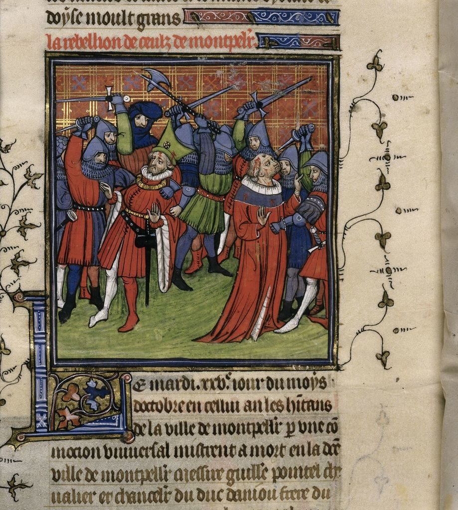 Revolt at Montpellier from BL Royal 20 C VII, f. 212v