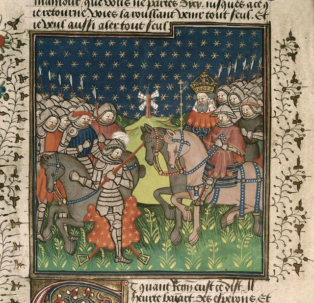 Richard and Charlemagne from BL Royal 15 E VI, f. 176v