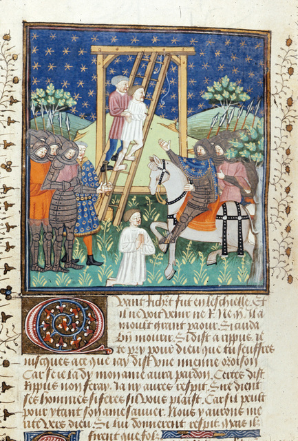 Richard being rescued from the gallows from BL Royal 15 E VI, f. 180v