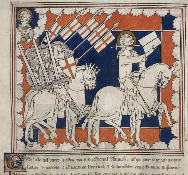 Rider on the white horse and his followers from BL Royal 19 B XV, f. 37