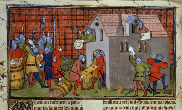 Rioters pillaging a house in Paris from BL Royal 20 C VII, f. 41v