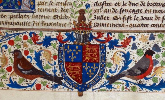 Royal arms from BL Royal 14 E IV, f. 10