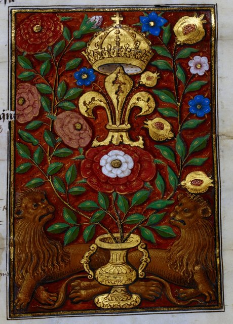 Royal arms from BL Royal 15 D IV, f. 219