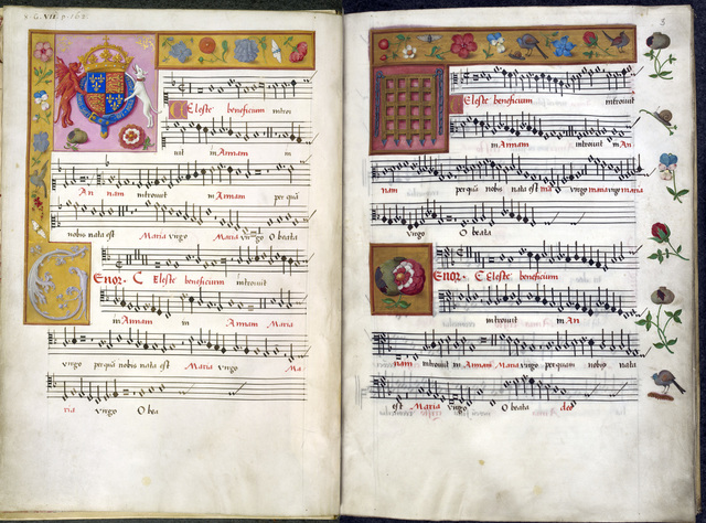 Royal arms of England and devices of Henry VIII from BL Royal 8 G VII, ff. 2v-3