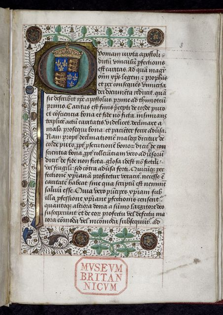 Royal arms of England from BL Royal 12 A XVI, f. 3