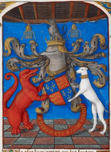Royal arms of England from BL Royal 19 C VI, f. 16v