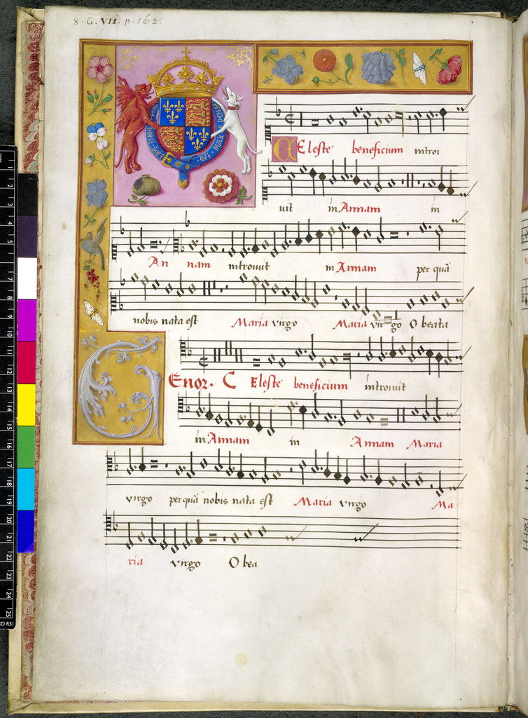 Royal arms of England from BL Royal 8 G VII, f. 2v