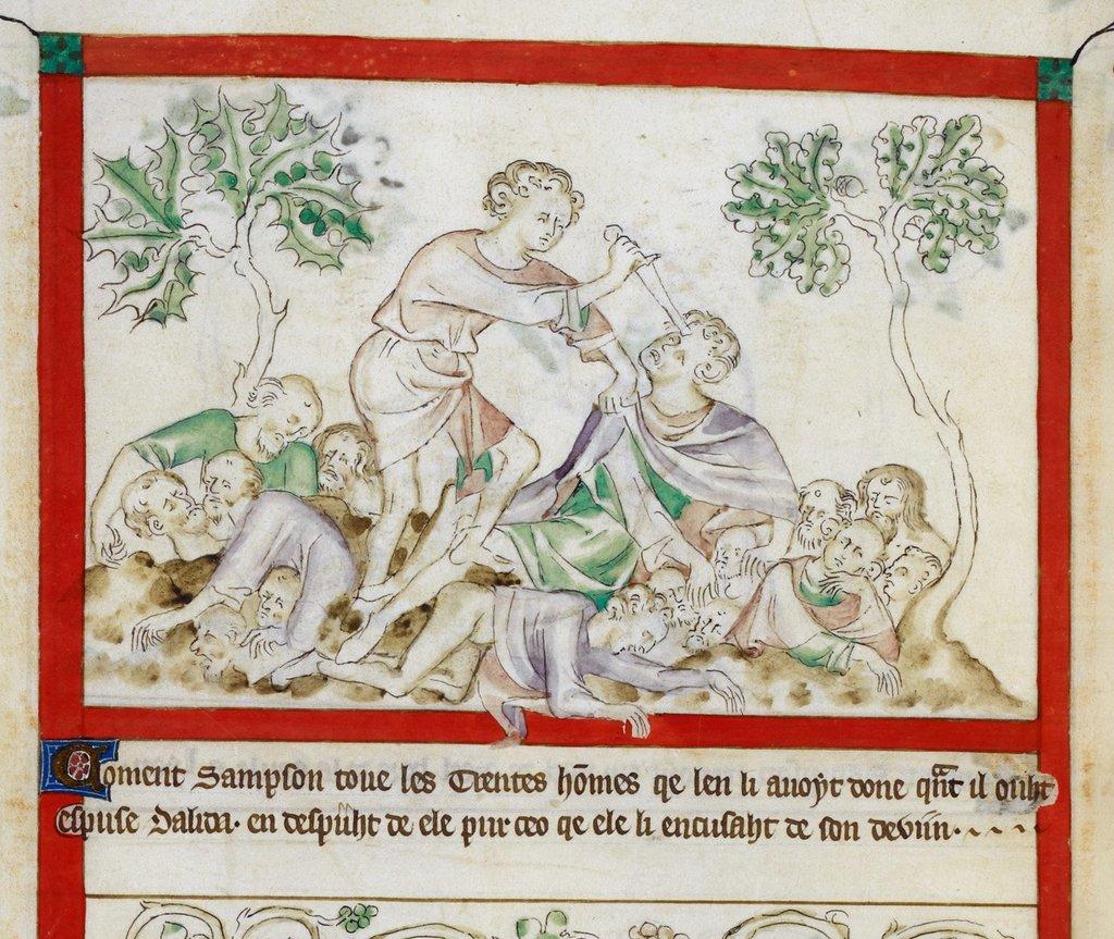 Samson killing 30 men from BL Royal 2 B VII, f. 44v