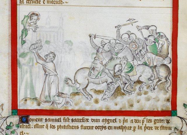 Samuel's sacrifice from BL Royal 2 B VII, f. 49v