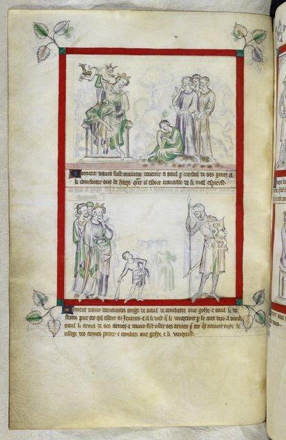Saul and David from BL Royal 2 B VII, f. 51v