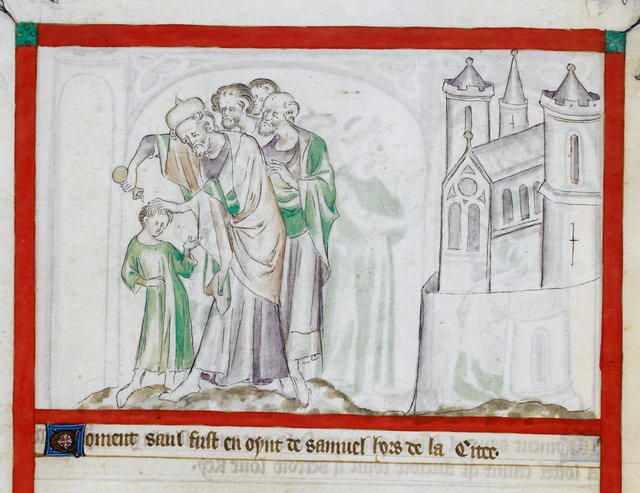 Saul and Samuel from BL Royal 2 B VII, f. 50v