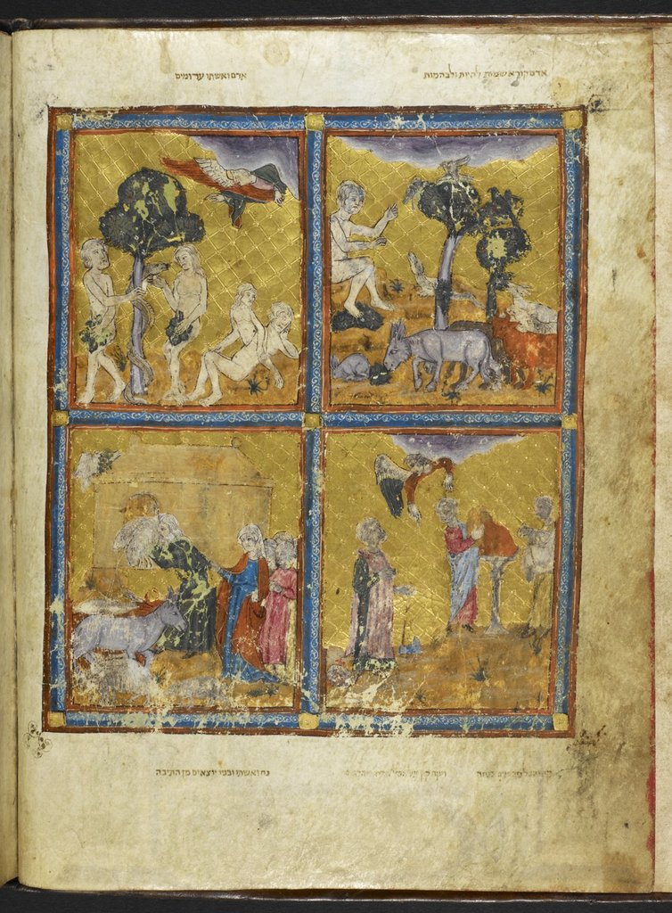 Scenes from Genesis from BL Add 27210, f. 2v