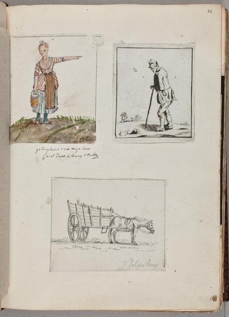 Schets: paard met wagen/ door J[ohannes] Jelgerhuys