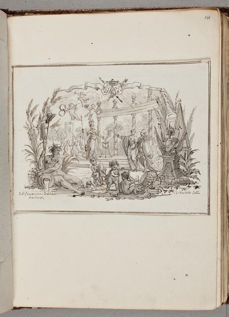 Schets: tuin met mensen en knutselende kinderen / door Reinier Vinkeles (1741-1816)